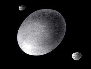 A. Feild/Space Telescope Science Institute/NASA Ilustrasi planet kerdil bernama Haumea dan bulan-bulannya, Hi'iaka dan Namaka.